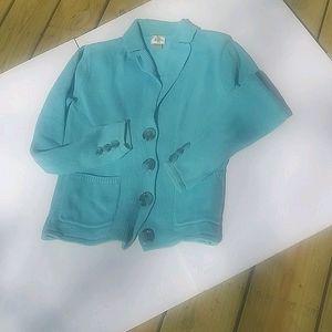 Alps Sweater Womens Size S Aqua Turquoise Blue